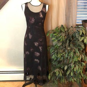 Simply Vera Black Floral Fine Mesh Overlay Dress